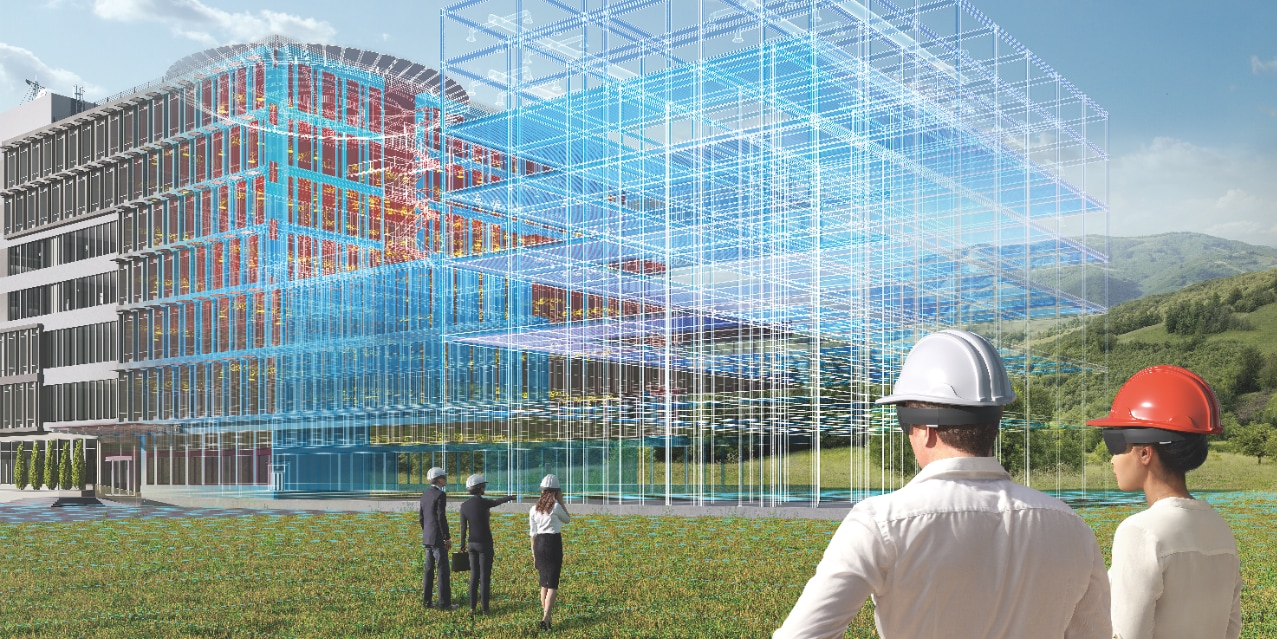 BIM virtual simulation - called digital twin - using augmented reality as a high-tech construction method which also benefits facility managers