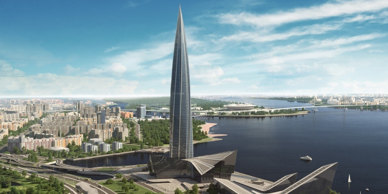 Lakhta Center tower in Saint Petersburg, LEED Gold certified using Hilti Firestop