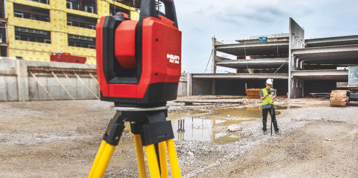 Layout tool (robotic total station with BIM capability) used for locating building elements on construction sites